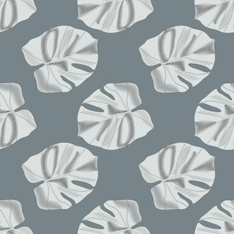 Minimalistisch botanisch naadloos patroon met monsterabladornament. marineblauwe bleke achtergrond. grijs palmblad.