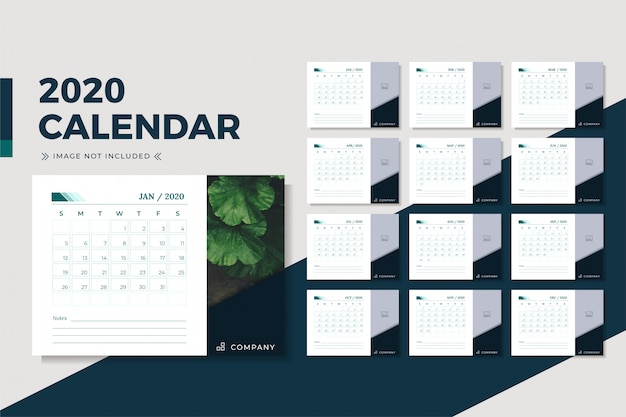 Minimalistisch bureaukalenderontwerp 2020