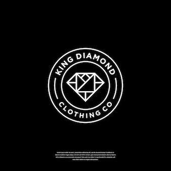 Minimalistisch combineren kroon- en diamantlogo met lijntekeningen logo-ontwerpinspiratie