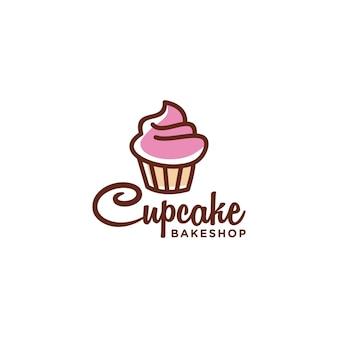 Minimalistisch cupcake bakkerij logo-ontwerp