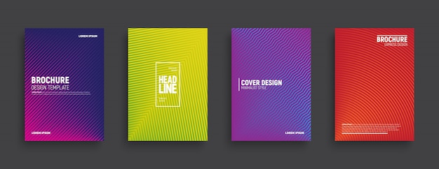 Minimalistisch design gekleurde brochures