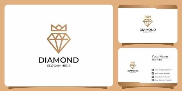 Minimalistisch diamantlogo en visitekaartje in lineaire stijl