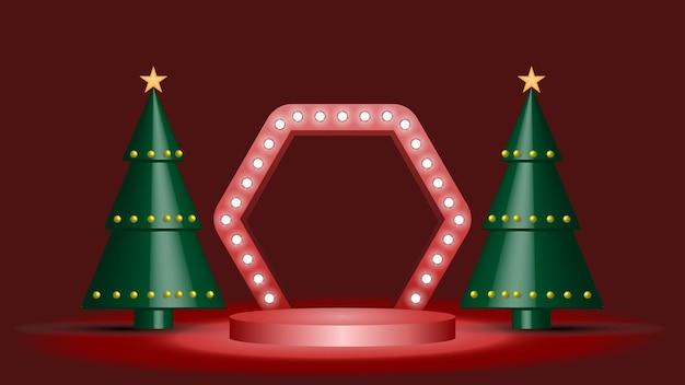 Minimalistisch displaypodium voor het tonen van producten met kerstbomen en licht in een donkere kamer