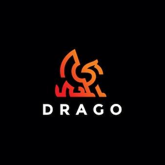 Minimalistisch eenvoudig drakenlogo ontwerp