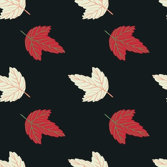Minimalistisch eenvoudig karakter naadloos patroon met lichtgele en rode bladeren.