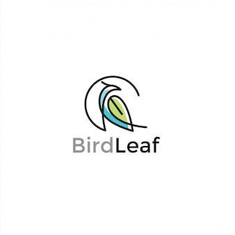 Minimalistisch eenvoudig vogel- en bladlogo-ontwerp