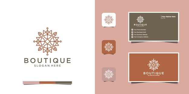 Minimalistisch elegant bloemenlogo voor schoonheid, cosmetica, yoga en spa. logo ontwerp en visitekaartje