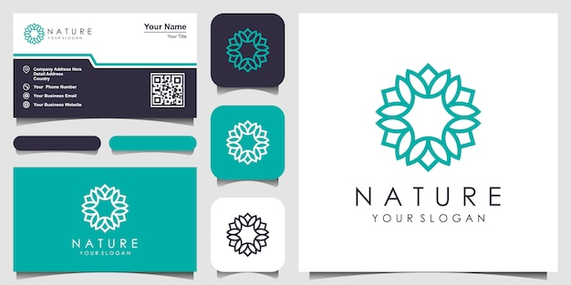 Minimalistisch elegant bloemenroos logo-ontwerp voor schoonheid, cosmetica, yoga en spa. logo en visitekaartje ontwerp