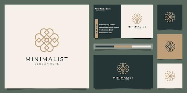 Minimalistisch elegant bloemluxe-logo en visitekaartje