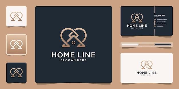 Minimalistisch elegant huislijnlogo met visitekaartje-branding