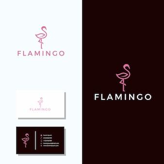 Minimalistisch flamingo-logo met visitekaartje logo-ontwerp