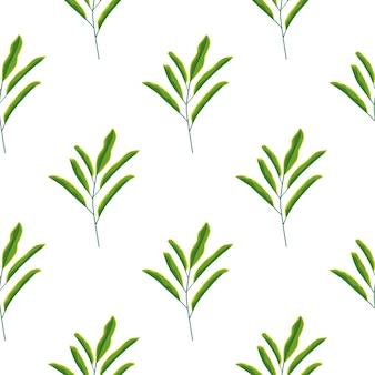 Minimalistisch groen blad vertakt naadloos patroon in handgetekende stijl