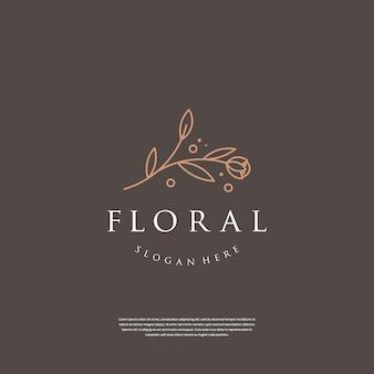 Minimalistisch handgetekend bloemenlogo-ontwerp