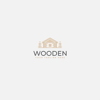 Minimalistisch houten huislogo, huis luxe logo