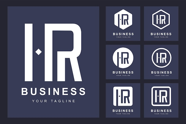 Minimalistisch hr-letterlogo met verschillende versies