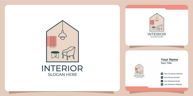 Minimalistisch interieurlogo met logo-ontwerp in lijnstijl en sjabloon voor visitekaartjes