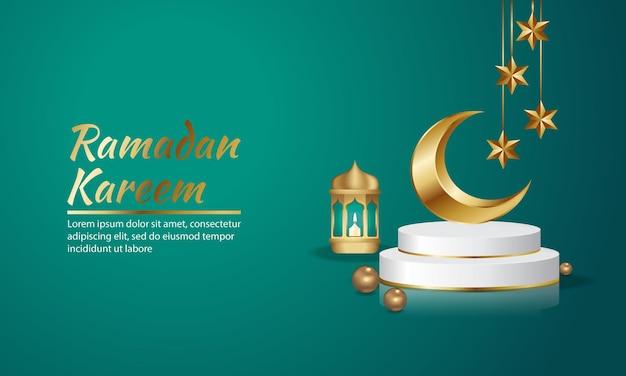 Minimalistisch islamitisch blauwgouden scènepodium Premium Vector