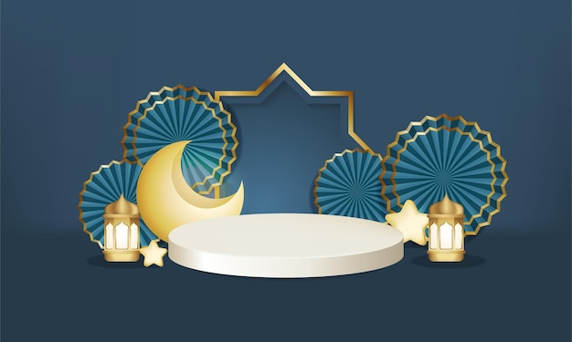 Minimalistisch islamitisch blauwgouden scènepodium