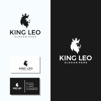Minimalistisch king leo-logo (leeuw + kroon) met visitekaartjeontwerp