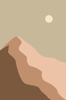 Minimalistisch landschap met bergen bij de zonsondergang hedendaagse kunst aan de muur platte vectorillustratie