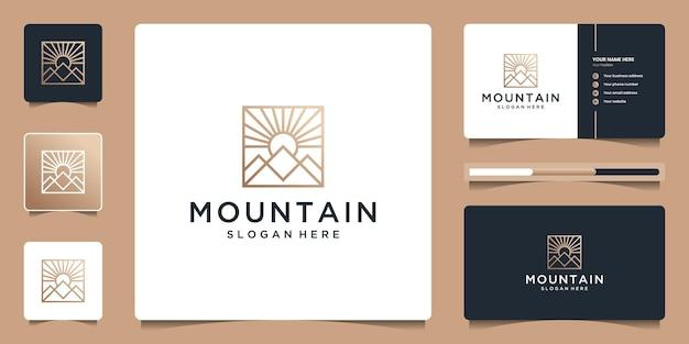 Minimalistisch landschap met logo-ontwerp in lijnstijl en visitekaartje.