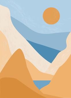 Minimalistisch landschap met zonsopgang en zonsondergang in de bergen