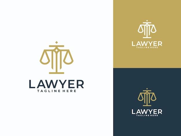 Minimalistisch lineair logo van advocatenkantoor en kantoor
