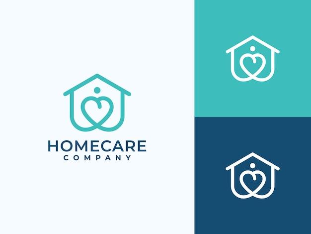 Minimalistisch logo-ontwerp voor thuiszorg, liefdessymbool,