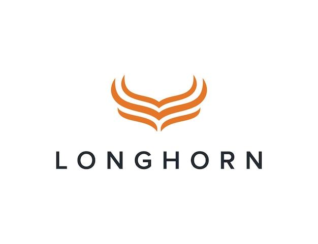 Minimalistisch longhorn eenvoudig gestroomlijnd creatief geometrisch modern logo-ontwerp