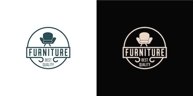 Minimalistisch meubellogo met logo-ontwerp in lijnstijl en sjabloon voor visitekaartjes
