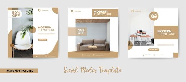 Minimalistisch modern meubilair op sociale media