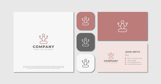 Minimalistisch monoline yoga-logo en visitekaartje