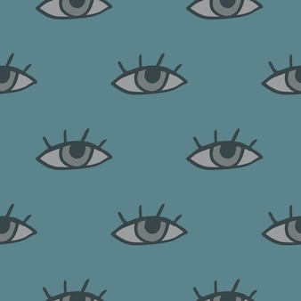 Minimalistisch naadloos oogpatroon. pastel lichtblauwe achtergrond met grijze elementen.