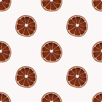 Minimalistisch naadloos patroon met realistische droge stukjes sinaasappel.