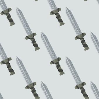 Minimalistisch naadloos patroon met zwaardornament.