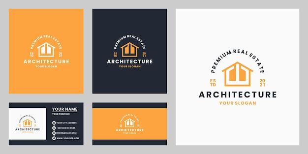 Minimalistisch onroerend goed architectuur logo-ontwerp met visitekaartje retro-stijl