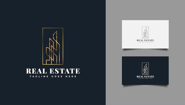 Minimalistisch onroerend goed-logo in goudverloop met lijnstijl. bouw-, architectuur-, gebouw- of huislogo