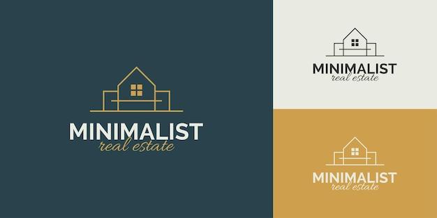 Minimalistisch onroerend goed-logo-ontwerp met lineaire stijl
