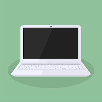 Minimalistisch ontwerp met witte laptop