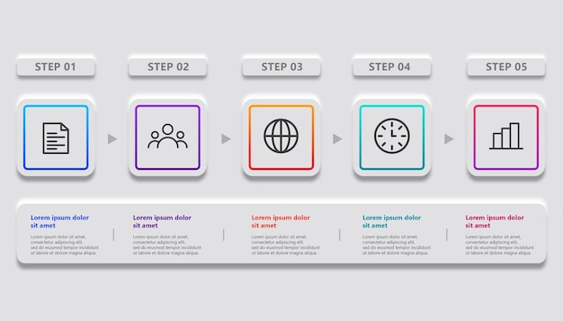 Minimalistisch ontwerp voor zakelijke infographic met 5 stappen