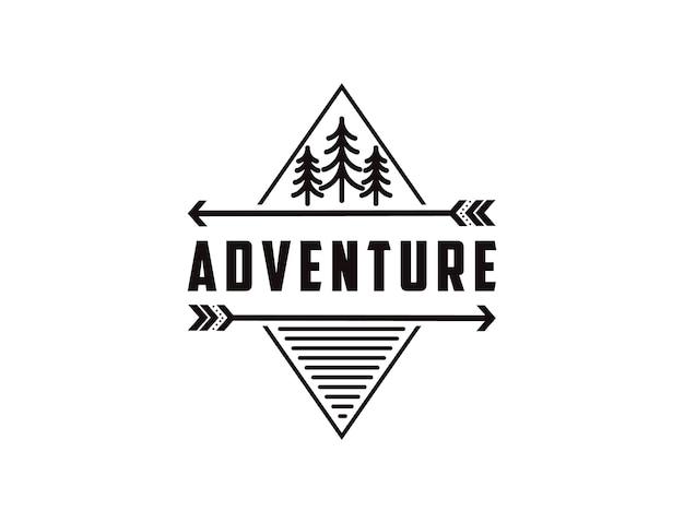 Minimalistisch outdoor-avontuurbadge-logo met pijnbomen