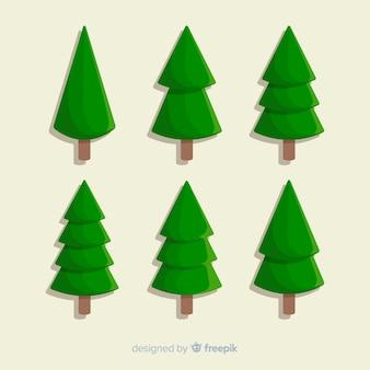 Minimalistisch plat ontwerp van kerstboom