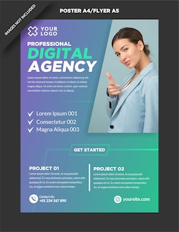 Minimalistisch poster a4 en flyer a5 digitaal marketingontwerp