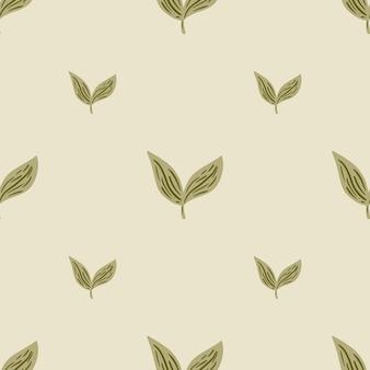 Minimalistisch stijl naadloos patroon met beige eenvoudig bladornament. minimalistische natuurprint. vectorillustratie voor seizoensgebonden textielprints, stof, banners, achtergronden en wallpapers.
