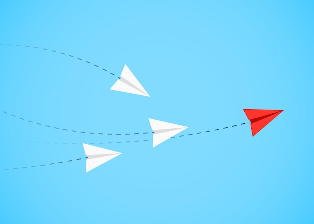 Minimalistisch stijl rood papieren vliegtuigje toont richting voor witte.