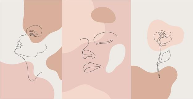 Minimalistisch stijlportret. lijnbloem, vrouwenportret. hand getekend abstracte vrouwelijke print.