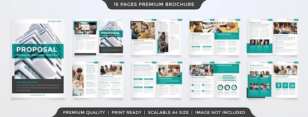Minimalistisch tweevoudig voorstel brochure sjabloon
