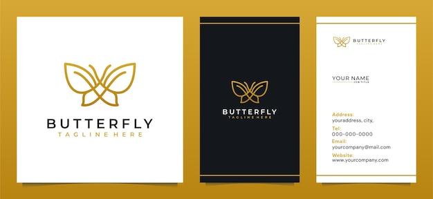 Minimalistisch vlinderlijntekeningenlogo-ontwerp en modern visitekaartje