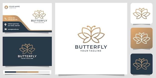 Minimalistisch vlinderlogo-ontwerp en visitekaartjeontwerp