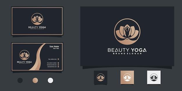 Minimalistisch yoga lotus logo-ontwerp met menselijke meditatie in bloem premium vekto